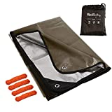 RedSwing Heavy Duty Reflective Survival Space Blanket, Multipurpose Emergency Thermal Blanket for All Weather, Khaki