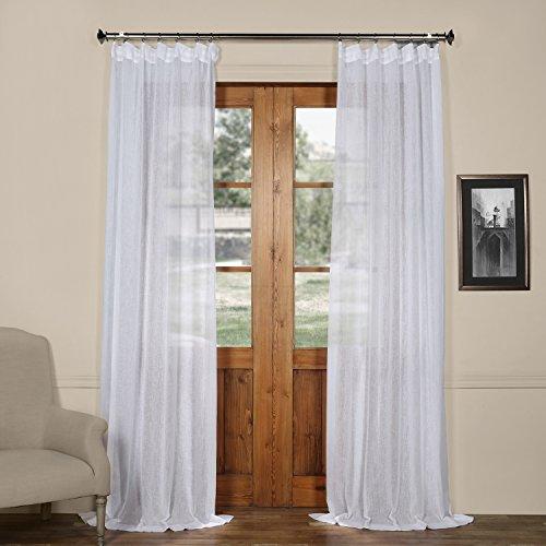 HPD Half Price Drapes SHCH-SS07161-108 Solid Faux Linen Sheer Curtain (1 Panel), 50 X 108, Aspen White