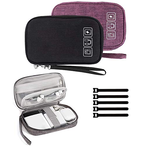 Cable Organizer Bag, 2PCS Travel Cord Organizer Pouch Small Electronics Accessories Bag Tech Cord Storage Pouch for Cable, Charger, Phone, USB, SD Card,with 5pcs Cable Ties (Black+Purple)