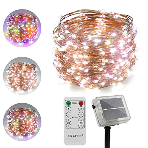 ErChen Dual-Color Solar Powered LED String Lights, 100FT 300 LEDs Remote Control Color Changing 8 Modes Copper Wire Decorative Fairy Lights for Outdoor Garden Patio (White, Multicolor)
