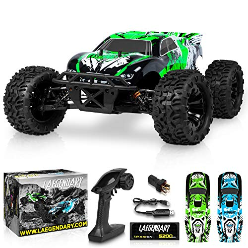 1:10 Scale Brushless RC Cars 65+ km/h Speed - Boys Remote Control Car 4x4 Off Road Monster Truck Electric - All Terrain Waterproof Toys for Kids and Adults -2 Body Shells + Connector for 30+ Mins Play