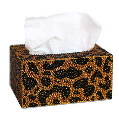 YAeele Tejido caja de pañuelos titulares Caja de almacenamiento caja de pañuelos diamante Pintura trabajo hecho a mano tejido patrón a cuadros caja del leopardo del rectángulo de la caja del tejido de