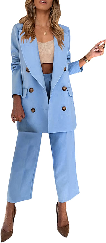 Women Blazer and Pants Suit Set Lady Business Office Casual Blazer Button Front Pocket Blazer + Straight Leg Pants Suit