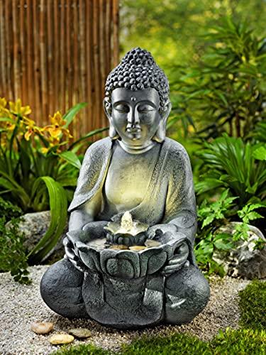 Gartenbrunnen Buddha mit LED-Beleuchtung   Gesamthöhe ca. 45 cm   mit Natursteinen zum Dekorieren   aus hochwertiger Fiberglas-/Zementmischung   integrierte Wasserpumpe