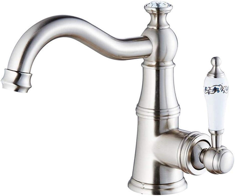 AWDTN Nostalgia Chrome Bathroom Faucet Basin Mixer 360 ° Swivel Sink Faucet Mixer Tap Mixer Tap Bathtub Tap Bathroom Brass,C