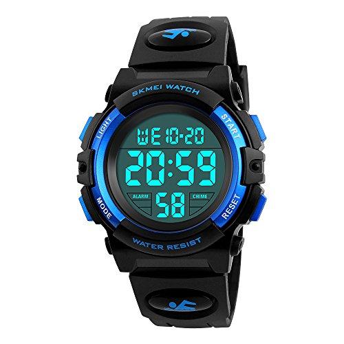 Skmei Wasserdichte Outdoor-Sportuhren, elektronische LED-Digital-Multifunktions-Armbanduhr für Mädchen und Kinder, mit Alarm-Hintergrundbeleuchtung (blau)
