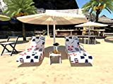 Qchengsan Beach Chair Cover, Chaise Lounge Towel Cover,Beach Towel with Storage Pockets,Great Accessories for Pool, Sun Lounger, Hotel, Vacation, Holidays Sunbathing (1)