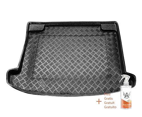 Kofferraummatte aus PVC Passend für Renault CLIO IV GRANDTOUR Oberteil des Kofferraums (ab 2012) + Kunststoffreiniger (Geschenk)