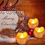 LED Kerzen,12er Gelb LED Flammenlose Kerzen mit Timerfunktion Led Teelichter 6 Stunden an und 18 Stunden aus, flackernde batteriebetriebene kerzen, Gelb - 2