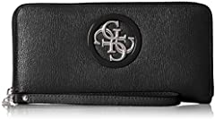 Guess Open Road SLG Large Zip Around, Cartera. para Mujer, Multicolor (Black), 21x10x2 Centimeters (W x H x L)