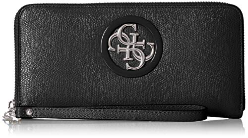 Guess Damen Open Road Slg Large Zip Around Geldbeutel, Mehrfarbig (Black), 21x10x2 Centimeters