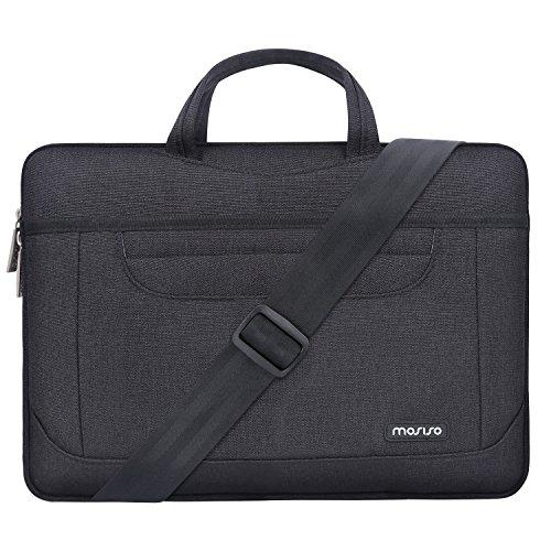 MOSISO Bolso de Hombro Compatible con 13-13.3 Pulgadas MacBook Air/MacBook Pro Retina/Surface Laptop/Book, Funda Protectora Maletín Bandolera con Los Bolsillos Organizador para Trabajo Viaje, Negro