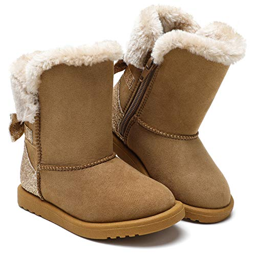 tombik Toddler Girls Snow Boots Warm Cold Weather Winter Boots Cognac 8 US Toddler
