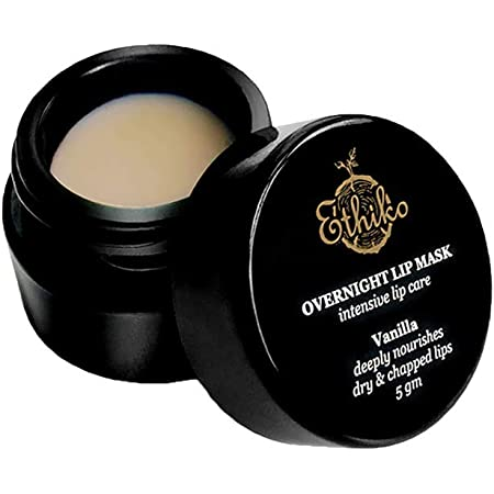 Ethiko Overnight Lip Mask/Lip Balm With Cocoa Butter & Vanilla  For Dry and Chapped Lips  5 gm