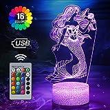 Meerjungfrau Nachtlicht für Kinder, 3D Lampe 16 Farben Ändern mit Fernbedienung, Meerjungfrau Spielzeug für mädchen, Geburtstags Geschenke für Frauen