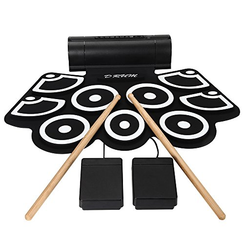 Aufitker Roll Up Drum, Electronic Hand Roll MIDI Drum with Built in Speakers,...