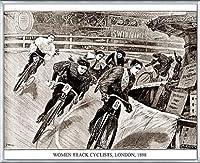 ポスター アーティスト不明 Women Track Cyclists 1898 額装品 アルミ製ベーシックフレーム(シルバー)