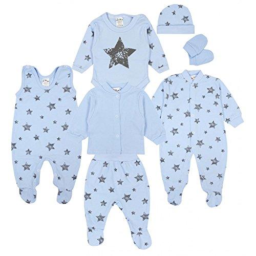 TupTam Conjunto de Ropa Bebé Recien Nacido, 7 Piezas, Gris Estrellas Azul, 56