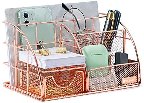 Rosework Rose Gold Desk Organizer for Women, All in One Desktop Organizer with Pen Holder, Pencil Holder and Paper Organizer, Office Organizer for Home Office Supplies and Desk Accessories