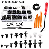 DROGO 415 PCS Car Retainer Clips Auto Push Pin Rivets Set and Fasteners Remover 18 Most Popular Sizes for Ford GM Chrysler-Black