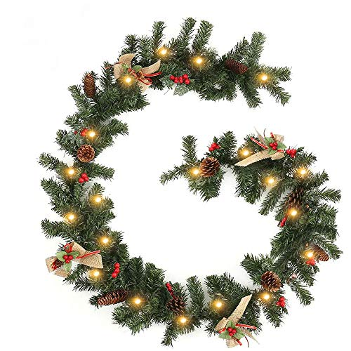 1.8M Decorated Garland with Lights Christmas Garlands Decorations for Stairs Fireplaces Artificial Wreath Garland with Cones, Red Berries and Illuminated with 20 Clear Lights