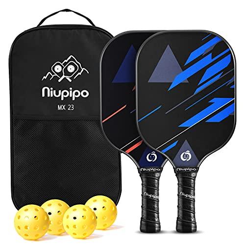 niupipo Pickleball Paddles, Fiberglass Surface, Pickleball Set of 4 Balls and 1 Pickleball Bag