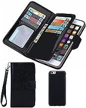 Valentoria Black Deals Friday Cyber Deals Monday Sales-iPhone 8Plus iPhone 7Plus Wallet Case, Leather Wallet Case Magnetic Detachable Slim Back Cover Card Holder Slot Wrist Strap(iPhone 7 Plus,Black)