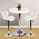 Bar Table Set of 3 – Adjustable Round Table and 2 Swivel Pub Stools for Home Kitchen Bis...