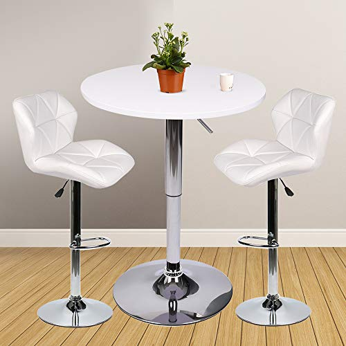 Bar Table Set of 3 – Adjustable Round Table and 2 Swivel Pub Stools for Home Kitchen Bistro, Bars Wine Cabinets (Set 8)