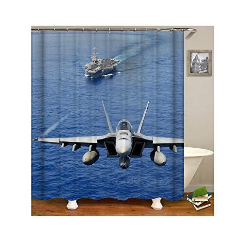 Epinki Duschvorhang Anti-Schimmel aus Polyester Flugzeug Muster Badewanne Vorhang Badewannenvorhang Blau mit 12 Duschvorhangringen für Badewanne - 165x200CM