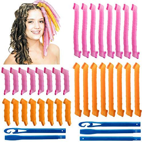 32Pcs Magic Spiral Hair Bigoudis Spiral Curls Styling Kit No Heat DIY avec 2 ensembles Styling Hook Tools for Girls Woman (30cm, 55cm)