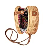 Handwoven Round Rattan Bag Tropical Beach Style Woven Shoulder Rattan Bag with Leather Buckle