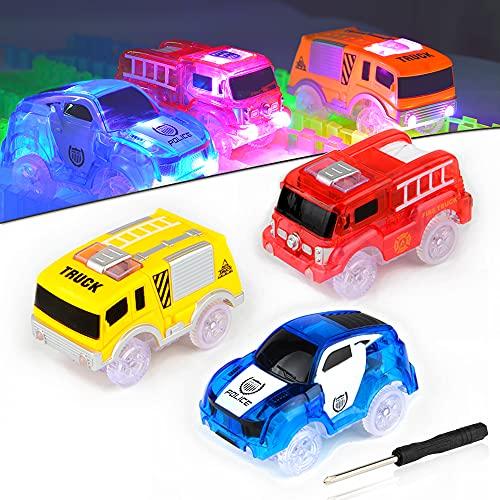 AniSqui Track Cars, Auto Giocattolo per Bambini Pista Macchinine Auto Elettriche Il Bagliore nel Buio Traccia, per I Regali di Natale Regalo di Compleanno