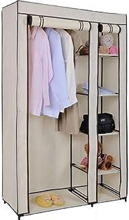 JLKDF TLMYDD Double Toile Pliable vêtements Armoire penderie Armoire penderie Rail étagère étagère, crème, Taille Unique