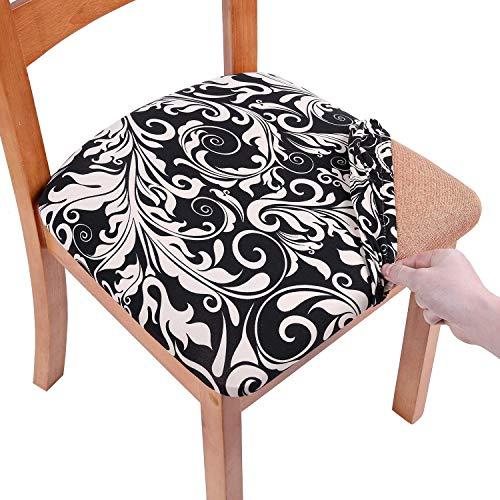 Homaxy Stretch Stuhlbezug Sitzfläche Weich Sitzbezug Stuhl Abwaschbar sitzbezüge für Esszimmerstühle Abnehmbar Stuhlhussen für Esszimmer- 2er Set, Schwarz Barock