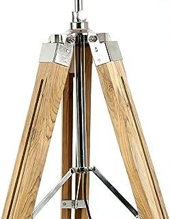 Pied de lampe en bois naturel avec abat-jour tambour