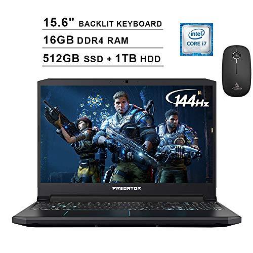 2020 Acer Predator Helios 300 15.6 Inch 144Hz FHD Gaming Laptop (9th Gen 6-Core i7-9750H, 16GB RAM, 512GB PCIe SSD + 1TB HDD, Backlit Keyboard, GTX 1660 Ti, Win 10) + NexiGo Wireless Mouse Bundle