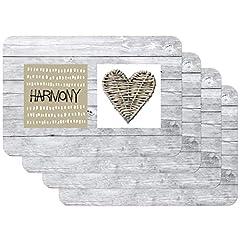 Idea Regalo - Venilia Harmony 59084 Tovaglietta con motivo stampato, Harmony Heart Grau, Confezione da 4 pezzi