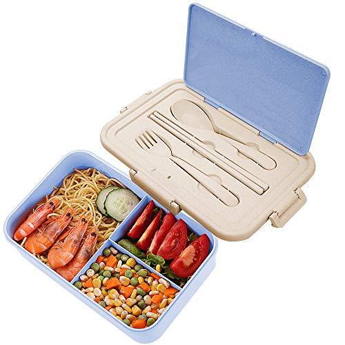 Lunch Box Niños, ZoneYan Fiambrera Compartimentos Eco, Bento Box Adulto, Fiambrera Infantil, Fiambreras con 3 Compartimentos, con Cubiertos, Lonchera a Prueba de Fugas, Caja de Bento Microondas (Azul)