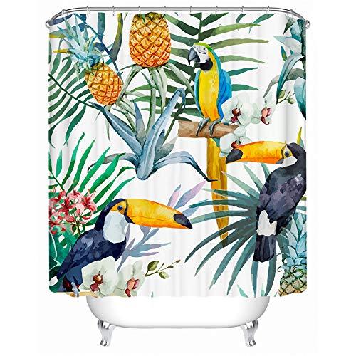 YEDL Tukan Duschvorhang Blume Polyester Wasserdicht Tropische Pflanze Bad Vorhang Mit Haken Bad Dekor 180 × 180Cm