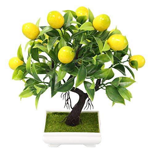 DEI Künstliche Bonsai-Pflanzensimulation Topf Obstbaum gefälschte Kunststoff Mini Zitronenbaum Pfirsichbaum Home Office Desktop-Dekoration