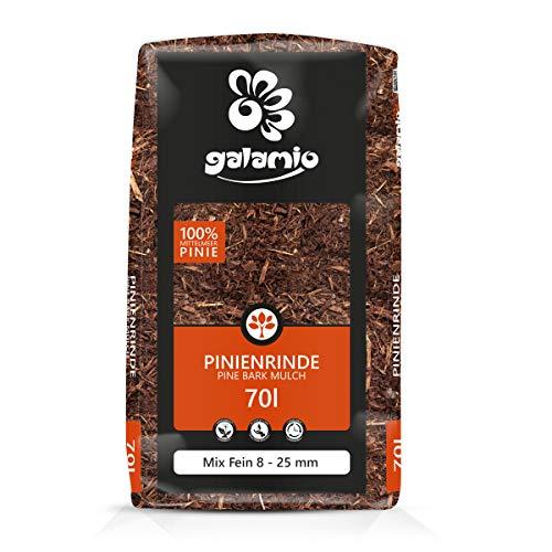 PALIGO Pinienmulch Pinienrinde Rindenmulch Pinie Mulch Garten Dekor Pinus Pinea Natur Mittelmeer Kiefer Mix 8-25mm 70l Sack / 1 Karton Galamio