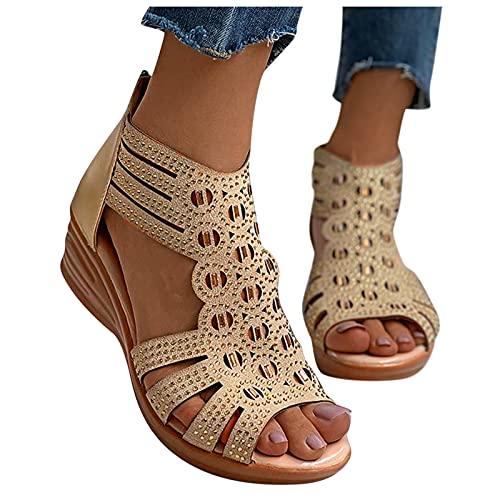 Femmes Dames Mode Vintage Cristal Extérieur Évider Zip Up Sandales Chaussures