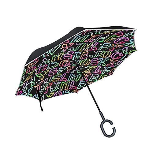 Parapluie inversé Double Couche Coupe-Vent extérieur Pluie Soleil parapluies inversés de Voiture avec poignée en Forme de C - Lettres de l'alphabet dégradé néon coloré