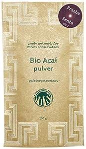 100% Amazonia Polvo de Acai puro orgánico, extracto fresco de bayas de Acai (pan crudo), secado en congelador, impulsado por el proyecto Aryiamuru, envases compostables, MHD 22/04/2022 (100 g)