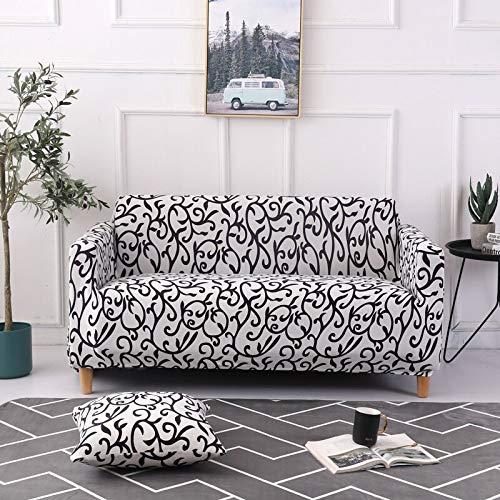 ASCV Fundas de sofá Estampadas geométricas/Florales elásticas para Sala de Estar Fundas de sofá Fundas elásticas decoración del hogar A2 4 plazas