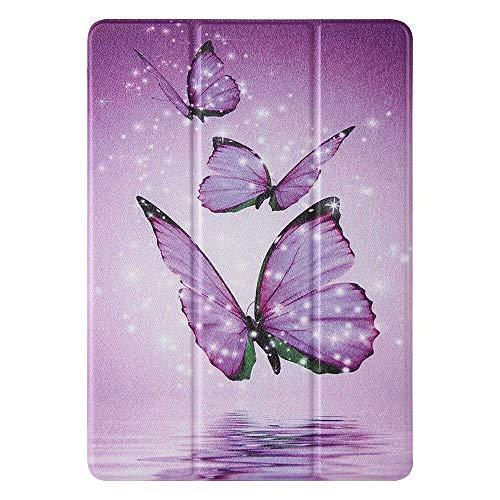 Miagon Tablet Hülle für Samsung Galaxy Tab A 7.0 Zoll SM-T285,PU Leder + Durchscheinend Weich TPU Back Bumper Trifold Ständer Schutzhülle,Lila Schmetterling