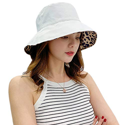 Xiangmall Sombrero De Sol Estampado de Leopardo Sombreros De Playa Plegable Gorra de Verano Plegable De ala Ancha Protección UV (Blanco)
