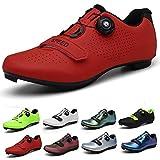 Zapatilla de Ciclismo de Carretera Hombre Mujer Antideslizantes Calzado de Bicicleta de montaña Rojo 38