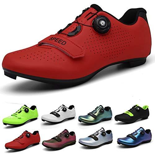 Zapatilla de Ciclismo de Carretera Hombre Mujer Antideslizantes Calzado de Bicicleta de montaña Rojo 44